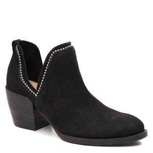 NIB 6 Crown Vintage WOODY Black Leather Split Side